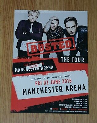 Busted ~ UK Tour 2016 ~ A5 Tour Flyer Manchester Arena • 1.95£