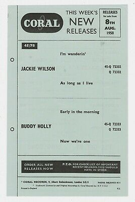 CORAL RECORDS This Weeks New Releases Flyer 1958 BUDDY HOLLY JACKIE WILSON • 12£
