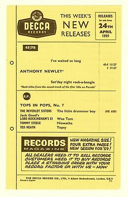 DECCA RECORDS This Weeks New Releases Flyer 1959 ANTHONY NEWLEY • 12£
