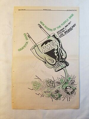 Vintage Ad Grateful Dead NRPS KMET Broadcast UCLA 1971 LA FREE PRESS Unframed  • 37.04£