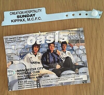 OASIS Maine Road - Guest Ticket & Kippax Wristband Rare! Manchester City FC Liam • 40£
