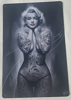 Large Tin Sign Marilyn Monroe Tattoo Art Work Hollywood Model Classic Pin Up USA • 0.01£