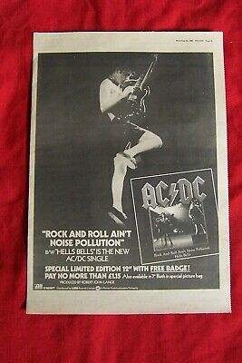 Ac/dc 1980 Original Vintage Poster Advert Rock And Roll Ain't Noise Pollution • 14.99£