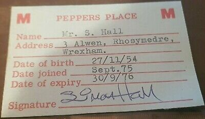 'Peppers Place' Discotheque Club Wrexham  1974 Membership Card • 2.99£