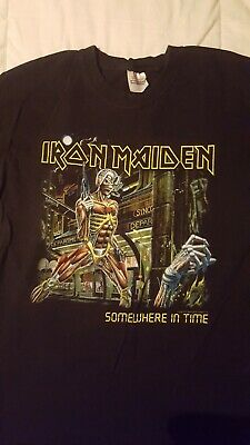 Iron Maiden Official Tour T Shirt Somewhere In Time North America Rare Size L • 19.99£