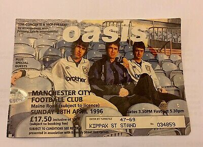 Oasis - Man City FC Maine Road Stadium Concert 28/04/1996 - Ticket Stub • 12.50£