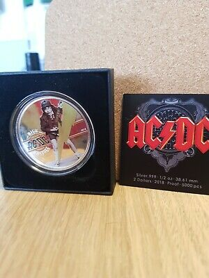 Official ACDC $2 SILVER PROOF HIGH VOLTAGE COIN Cook Islands,only 5000 Released • 80£