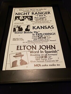 Night Ranger/Kansas/Elton John Rare Original Radio Promo Poster Ad Framed! • 46.49£