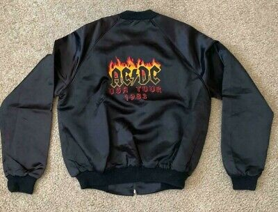 1983 AC/DC Flick Of The Switch US Black Satin Tour Jacket Size S, M & L NEW NOS • 187.61£