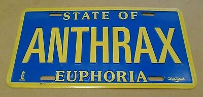 ANTHRAX State Of Euphoria 1988 US Promo Only Metal Licence / License Plate • 35£