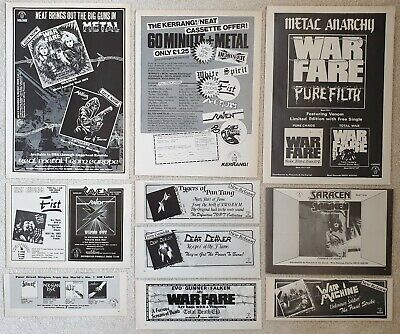 Neat Records Vintage Original Adverts Heavy Metal Cuttings Flyers Nwobhm Warfare • 12.99£