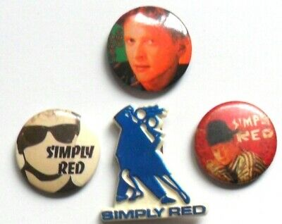 SIMPLY RED  X 3 Vintage Button Badges + Plastic Shaped Badge  MICK  HUCKNALL • 4.99£