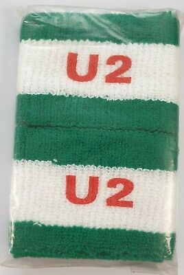 U2 VINTAGE PAIR OF UNUSED PRINTED LOGO SWEATBANDS POST PUNK POP ROCK BONO 80's • 12£