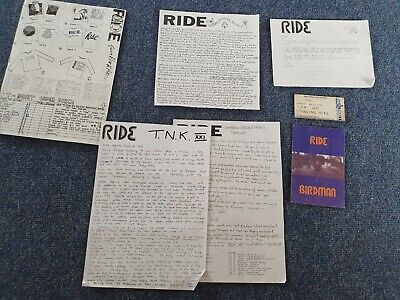 Ride Fanzine-Tomorrow Never Knows. RARE! + Birdman Postcard & Ticket Stub 1994. • 4.99£