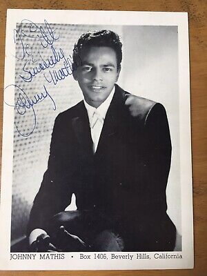 JOHNNY MATHIS ~ AUTOGRAPHED VINTAGE GLOSS PROMO PHOTO Circa 1959  5  By 7  • 84.95£