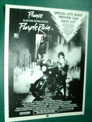 PRINCE - PUPLE RAIN  - A4 POSTER ADVERT 1980s Original With FAULT • 3.99£