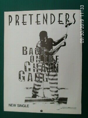 PRETENDERS CHRISIE HYNDE CHAIN GANG  - A4 SIZE POSTER ADVERT 1980s Original • 3.99£
