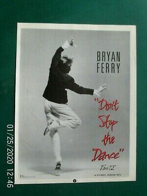 BRYAN FERRY ROXY MUSIC - DON,T STOP THE  - A4 SIZE POSTER ADVERT 1980s Original • 3.99£