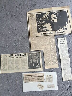 THE DOORS  ~JULY 1971 PRESS CUTTINGS RE JIM'S DEMISE Incl FIRST TRIBUTES • 5£