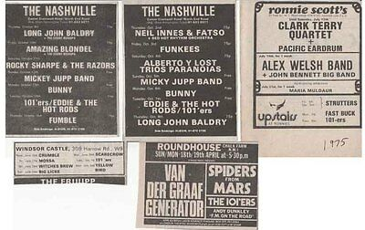 THE 101ers : 5 CONCERT ADVERTS 1975 1976 The Clash • 3.50£