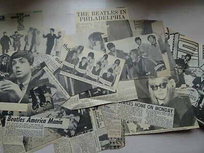 JOB LOT -  ORIGINAL NEWSPAPERS CUTTINGS -THE BEATLES - FROM EARLY/MID 1960s • 12£