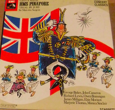 RARE HMS Pinafore: Trial By Jury - EMI 2 CASSETTE TAPES BOXSET WITH BOOKLET • 4.50£
