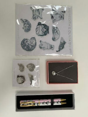 MEREDITH AND OLIVIA SWIFT Cat Set (2 X Pens, Stickers, And Necklace) • 45£