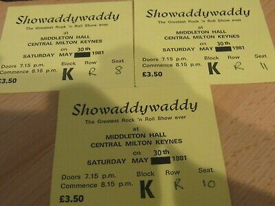 Concert Tickets - Shawaddywaddy Tickets - May 30th 1981 • 4£
