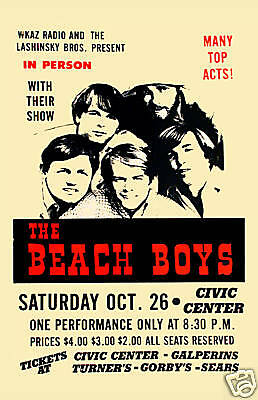 The Beach Boys At The Civic Center Poster 1968 • 8.89£