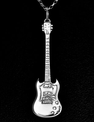 Miniature Silver Gibson SG Jimmy Page Led Zeplin Mini Electric Guitar Necklace • 39.95£
