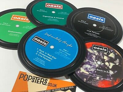 OASIS. 5 Coasters In A Tin. Cigarettes & Alcohol  Live Forever Definitely Maybe • 20£