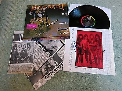 MEGADETH So Far, So Good…so What! US CAPITOL LP ~ AUTOGRAPHED INNER SLEEVE ~ C1- • 250£