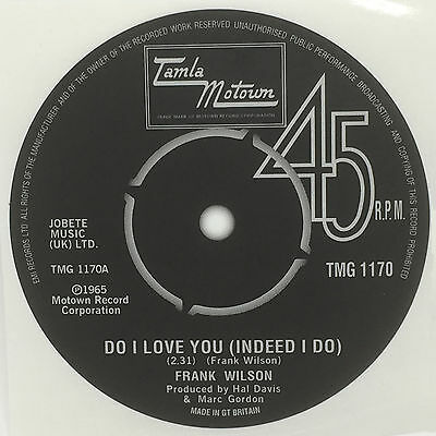 Frank Wilson - Do I Love You Record Label Sticker. Tamla Motown. Northern Soul • 2£