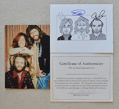 Bee Gees Caricaturist Signed AUTOGRAPH COA + Photo Robin Barry Maurice Gibb • 185£