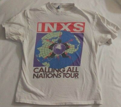INXS CALLING ALL NATIONS 1988 TSHIRT VINTAGE, Rare, Hanes Tag, White, Rock, 80's • 85.83£
