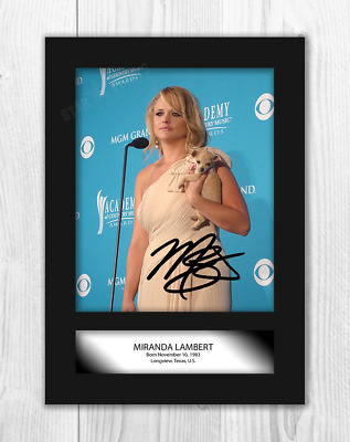 Miranda Lambert (2) A4 Signed Mounted Photograph Picture Poster. Choice Of Frame • 27.99£