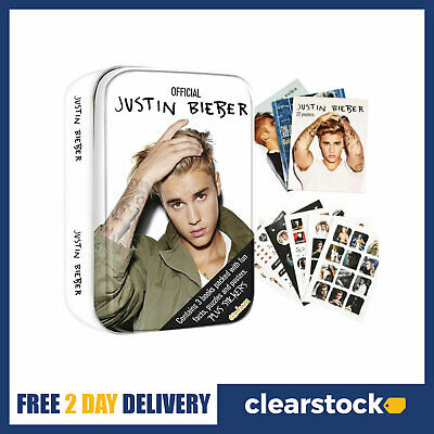 Justin Bieber Gift Present Tin - 3 Books With Facts - Puzzles Posters & Stickers • 3.49£