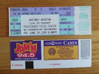 UNUSED WHITNEY HOUSTON June 24, 1994 PROVIDENCE CIVIC CENTER Ticket • 38.61£