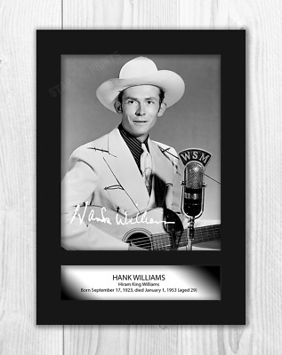 Hank Williams A4 Reproduction Autograph Photograph Poster. Choice Of Frame. • 19.99£