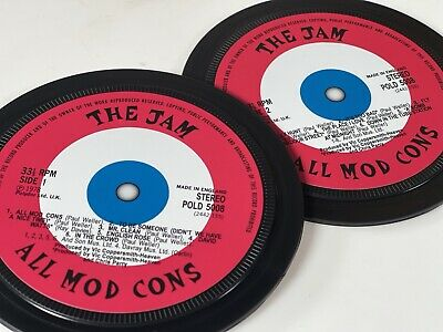 The Jam - 2 Record Label Coasters. All Mod Cons. Paul Weller. • 6£