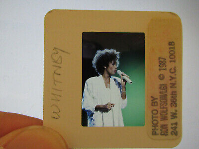 Original Press Promo Slide Negative - Whitney Houston - 1987 - White Dress • 21.99£