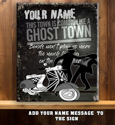 PERSONALISED GHOST TOWN SKA SPECIALS MOD BAR SCOOTER Vintage Metal Sign RS352 • 11.95£