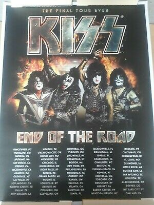 Kiss Poster Litho End Of The Road Tour 2019 Bought At O2 Arena Only US Dates • 89£