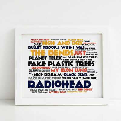 Radiohead Poster, The Bends, Framed Original Art, Album Print Lyrics Gift • 31.99£