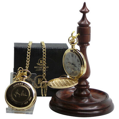 JOHNNY CASH Signed Autographed GOLD Pocket Watch And Luxury Wooden Display Stand • 49.95£