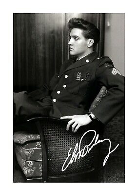 Elvis Presley As A GI A4 Reproduction Autograph Picture Poster Choice Of Frame • 27.99£
