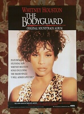 WHITNEY HOUSTON  The Bodyguard Soundtrack  Rare Original Promotional Poster • 38.61£