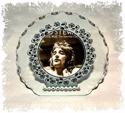 Rod Stewart Glass Photo Diamante Plaque Gift  Any Occasion Perfect Keepsake  • 27£