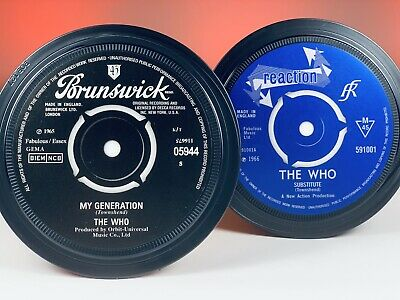 The Who- 2 Vinyl Record Label Coasters. My Generation And Substitute. Mod. • 6£