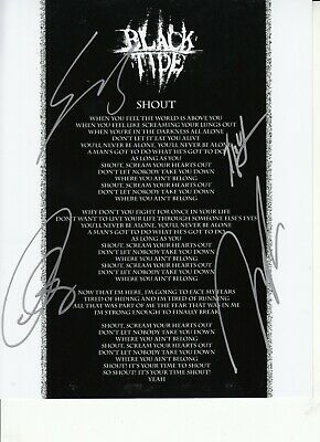 Black Tide Hand Signed 10 X 8 Inch Black And White Photograph Of Song Lyrics • 19.99£